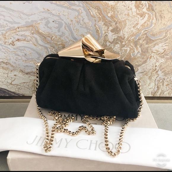 5be8e1b4891 Jimmy Choo Bags | Black Suede Gold Knot Clutch | Poshmark